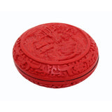 Lot Of 3 Round Shape Chinese Traditional Small Red Lacquer Jewelry Storage Box n496S