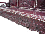 Antique Traditional Chinese Red Rosewood Mother of Pearl Long Bench Chaiser cs962S