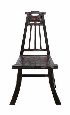 Chinese Handmade Village Rough Wood Brown Stain Chair With Back cs677S