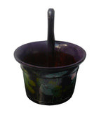 Chinese Purple Color Floral Round Wood Bucket vs974-eS
