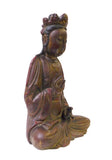 Chinese Red Brown Lacquer Wood Sitting Kwan Yin Figure cs1374S