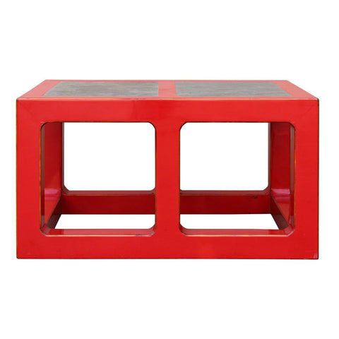 modern red lacquer coffee table