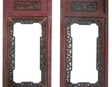 Pair Vintage Chinese Red Window Wood Panel Decor s1005S