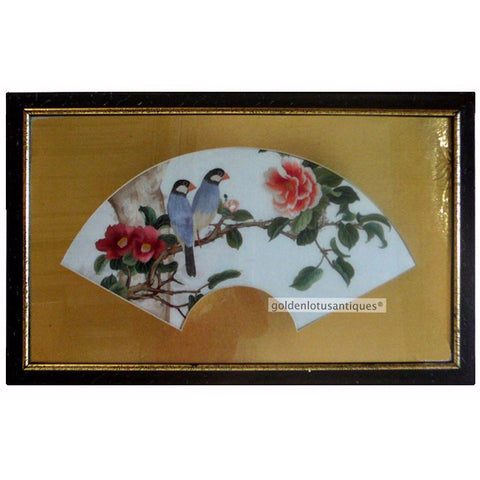 Fan Shape In Frame Embroidery Birds And Flowers Wall Hanging Art s1103S