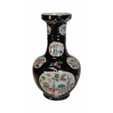 Traditional Chinese Black Porcelain Vase Painted With Calligraphic Brush, Flowers & Vase Graphic s1153S