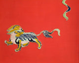 Antiques Chinese Foo Dog Playing Fireball Embroidery Painting Wall Decor s1656S