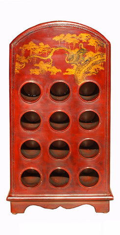 Handmade Chinese Red Leather Crane Painted Bottle Storage Rack s1725S