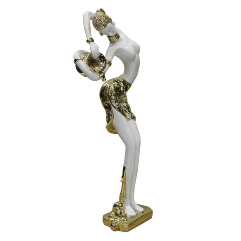 fiber glass figure -lady figure - gold white figure