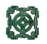 Chinese Ru-Yi Coin Green Glaze Clay Tile