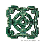 Chinese Ru-Yi Coin Green Glaze Clay Tile s1879