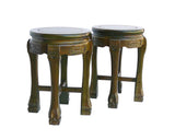 Pair Sandalwood Oriental Round Stools Chairs