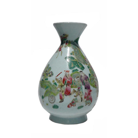 Porcelain White Base Scenery Vase
