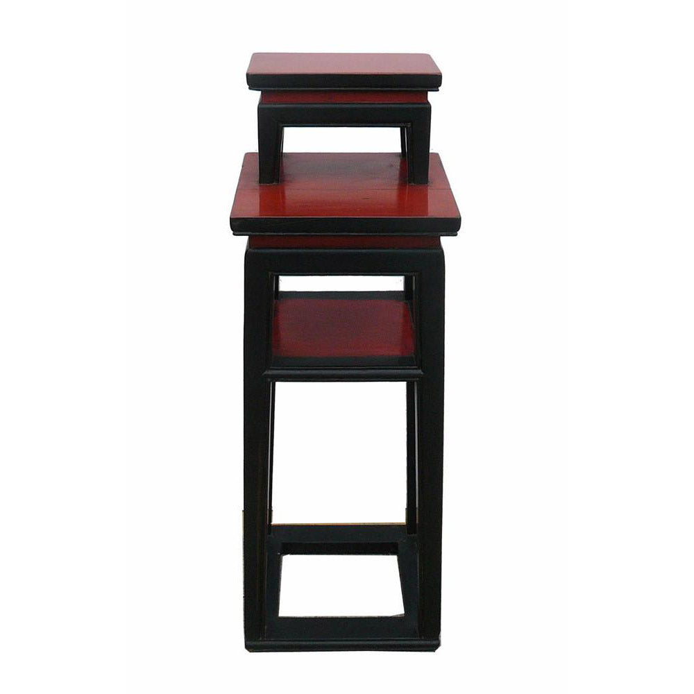 Vintage chinese black red narrow side table stand s2384s golden lotus antiques