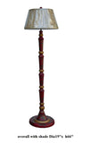 Handmade Chinese Cane Bar Tall Red Lacquer Golden Birds & Flowers Graphic Floor Lamp s2447S