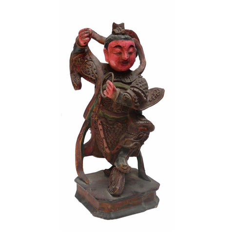 wood carved Guardian God statue