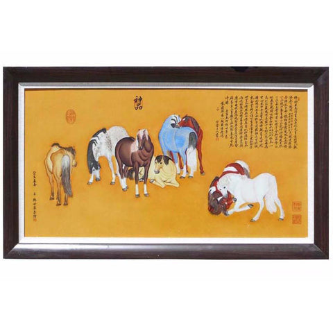 Chinese seven horse porcelain painting