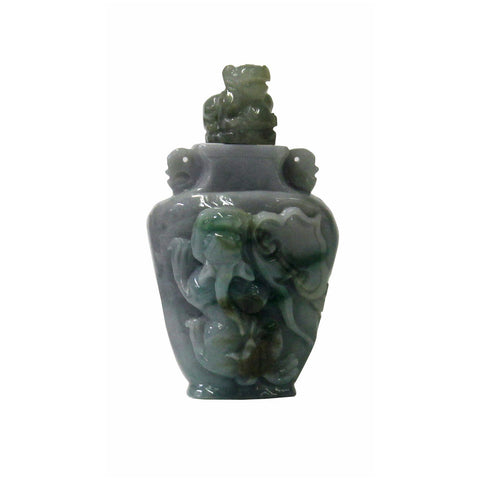 Chinese Hand Carved Natural Green White Jade Fu Dog Snuff Bottle