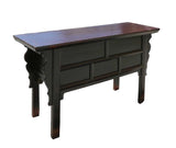 Chinese Rustic Brown Lacquer Drawers Coffer Table ss512S