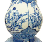 Chinese Handmade Gourd Shape Porcelain Blue & White Lady Portrait Tall Vase