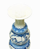 Chinese Handmade Gourd Shape Porcelain Blue & White Lady Portrait Tall Vase ss628S