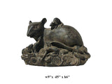 Fine Detail Chinese Resin Zodiac Wealth Gather Mouse Statue On Mountain Of Money ss674S