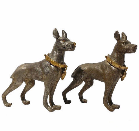 pair silver German Shepherd statue
