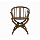 Chinese Light Brown Cross Leg Ancient Design Armchair ss719S