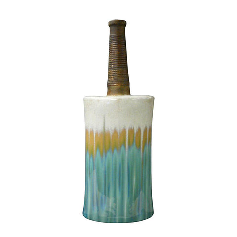 Modern Oval Shape Flat Tall Neck Ceramic Turquoise Bamboo Decor Vase