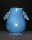 Chinese Deer Head Accent Blue Glaze Vase Pot vs016S