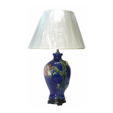 Chinese Navy Blue Flower Porcelain Vase Base Table Lamp vs025S