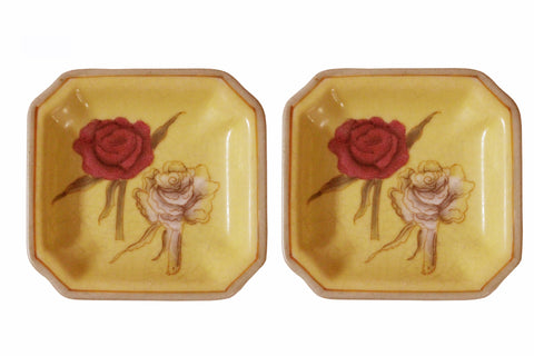 Lot Of 2 Quality Asian Artist Hand Painted Porcelain Square Display Dish vs075-4S