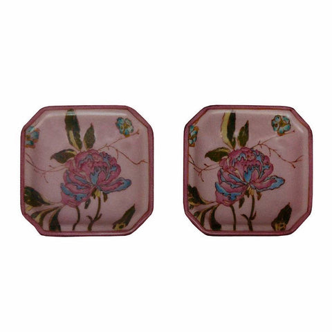 Lot Of 3 Quality Asian Artist Hand Painted Porcelain Square Display Dish vs075-5S