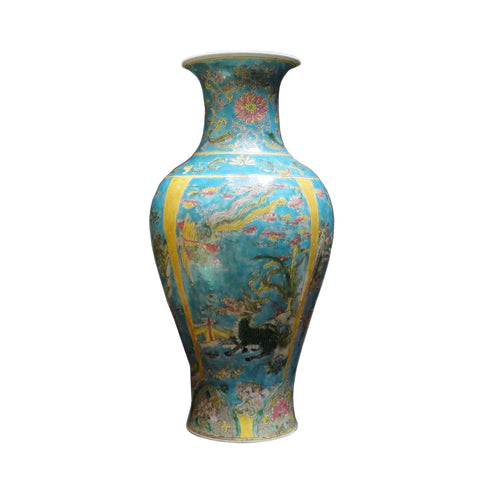 Chinese Porcelain Blue Base Animals Decor Vase