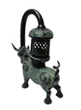 Chinese Green Black Ancient Ox Candle Display Vessel vs370S