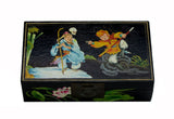 Black Lacquer Box With Chinese Classic Tail Monkey Deity Play Graphic