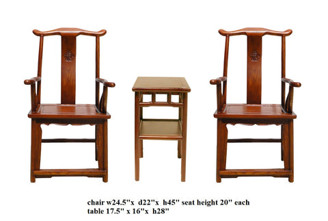 Chinese Traditional Elm Wood Yoke Back Armchair With Small