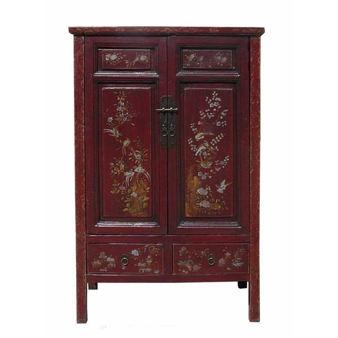 antique red color carved armoire
