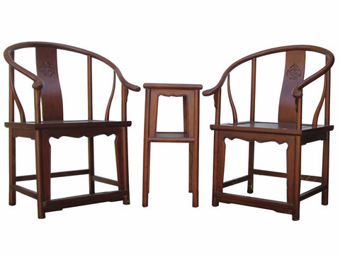 Chinese Horseshoes Armchair Table 3 Pieces Set vs672S
