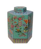 Vintage Chinese Hand Painted Turqouise Hexagon Jar vs680-1S