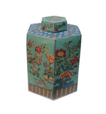 Vintage Chinese Hand Painted Turqouise Hexagon Jar cs680-2S