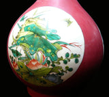 Handcrafted Pink Glaze White Lotus Birds Vase