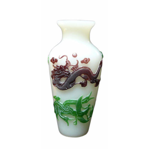 White Mixed Color Overlay Craved Dragon & Phoenix Peking Glass Vase