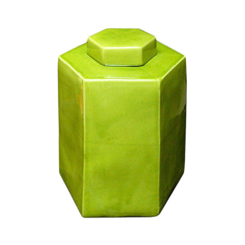 green porcelain hexagon container jar