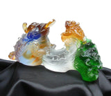 Liuli Crystal Glass Pate-de-verre Two Toads Fortune Figure
