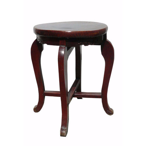 antique leather top round stool