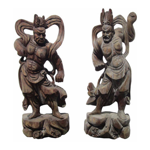 Handcrafted Chinese Wooden Ancient Guardian Figures - Pair vs818s