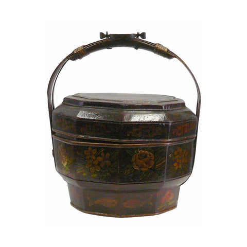 Traditional Chinese Antique Bamboo Octagon Flower Painting Wedding Basket