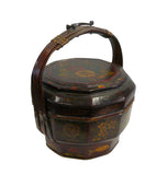 Traditional Chinese Antique Bamboo Octagon Flower Painting Wedding Basket vs914S