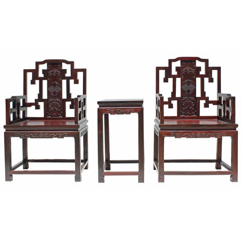 pair rosewood Chinese arm chair with table