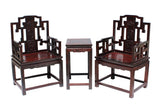 pair rosewood carved dragon chair